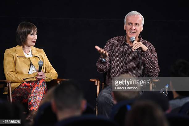 Producer Gale Anne Hurd and directorJames Cameron attend the American Cinematheque 30th Anniversary Screening Of 'The Terminator' QA at the Egyptian...