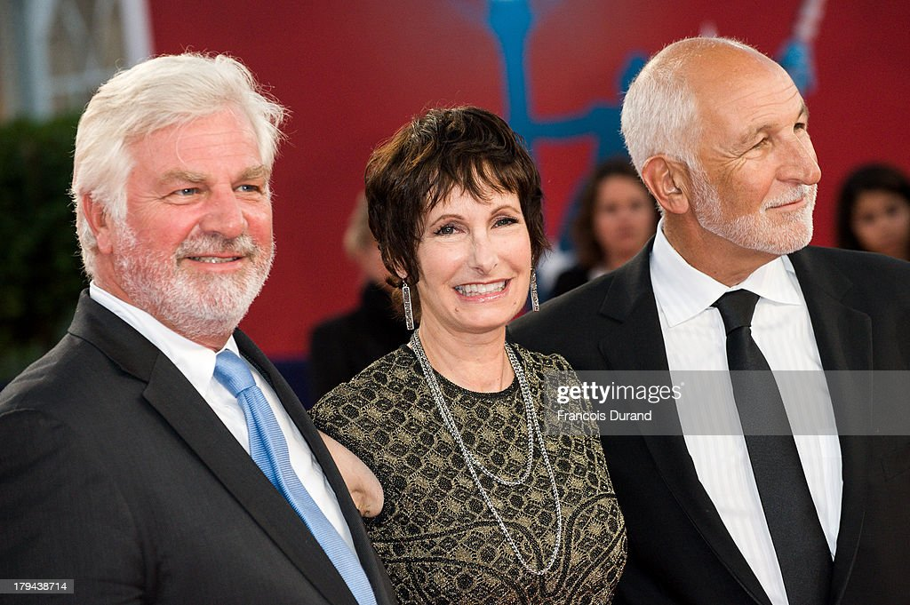 Producer <a gi-track='captionPersonalityLinkClicked' href=/galleries/search?phrase=Gale+Anne+Hurd&family=editorial&specificpeople=228412 ng-click='$event.stopPropagation()'>Gale Anne Hurd</a> poses with producers William Stuart (R) and Antoine de Cazotte (L) arrive at the premiere of the film 'Very Good Girls' during the 39th Deauville American Film Festival on September 3, 2013 in Deauville, France.