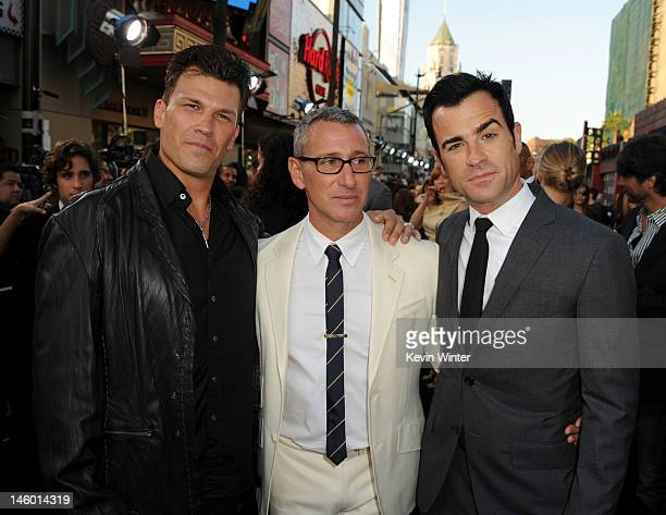 Producer Garrett Grant director Adam Shankman and writer Justin Theroux arrive at the premiere of Warner Bros Pictures' 'Rock of Ages' at Grauman's...