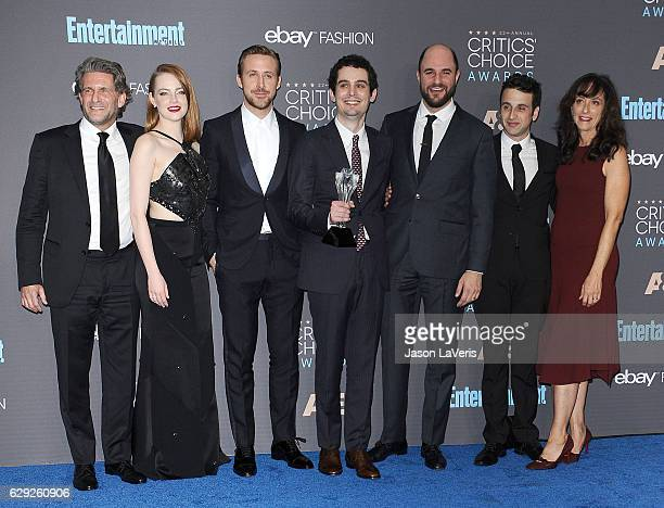 Producer Gary Gilbert actors Emma Stone and Ryan Gosling director Damien Chazelle producer Jordan Horowitz costume designer Mary Zophres and composer...