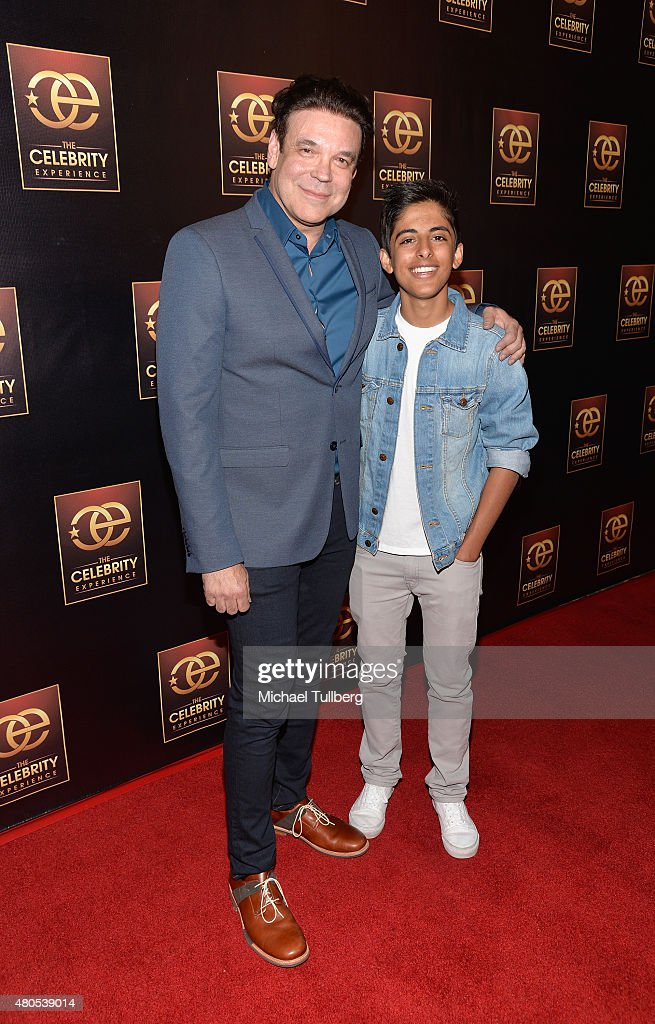 Producer George Caceres and actor Karan Brar attend The Celebrity Experience Panel at Hilton Universal City on July 12, 2015 in Universal City, California.