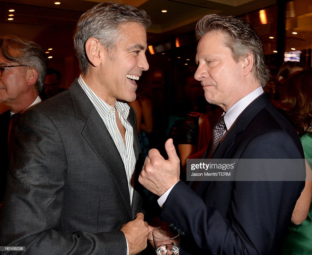Producer <a gi-track='captionPersonalityLinkClicked' href=/galleries/search?phrase=George+Clooney&family=editorial&specificpeople=202529 ng-click='$event.stopPropagation()'>George Clooney</a> and actor Chris Cooper attend The Weinstein Company Presents 'August: Osage County' Gala Screening Cocktail Reception during AFI FEST 2013 presented by Audi at TCL Chinese Theatre on November 8, 2013 in Hollywood, California.
