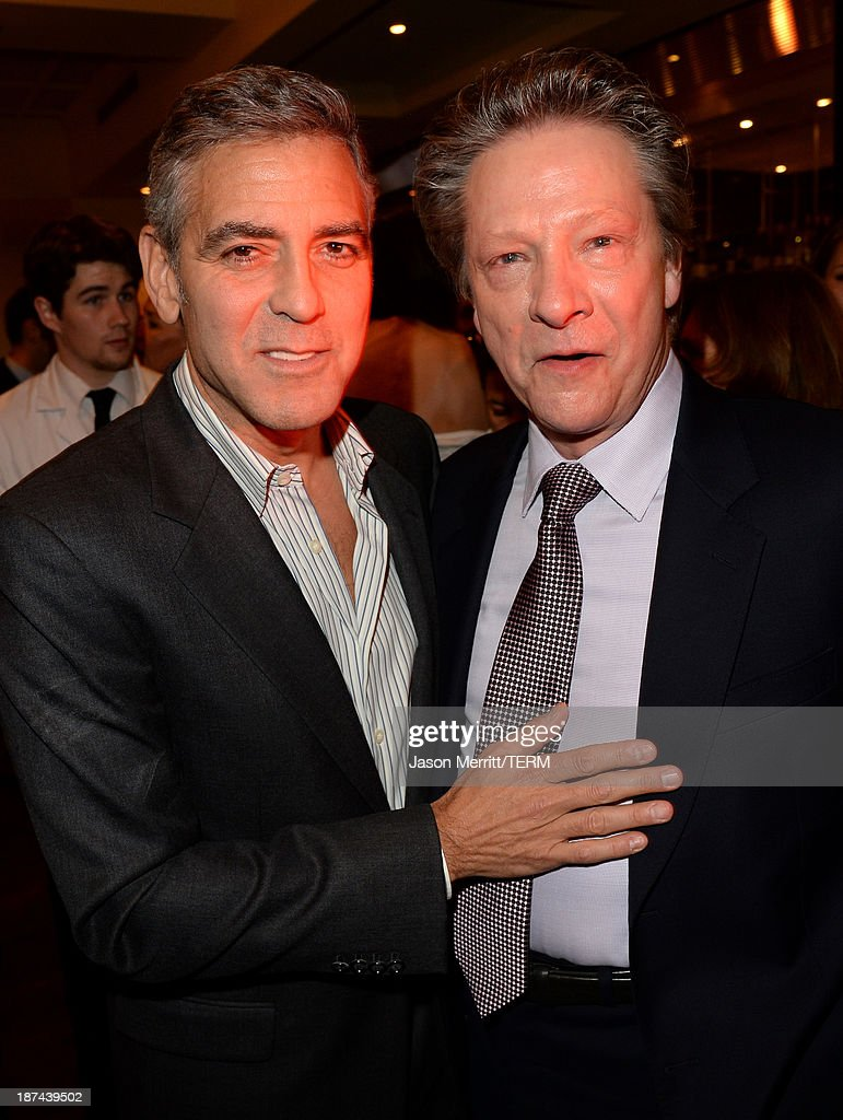 Producer <a gi-track='captionPersonalityLinkClicked' href=/galleries/search?phrase=George+Clooney&family=editorial&specificpeople=202529 ng-click='$event.stopPropagation()'>George Clooney</a> (L) and actor Chris Cooper attend The Weinstein Company Presents 'August: Osage County' Gala Screening Cocktail Reception during AFI FEST 2013 presented by Audi at TCL Chinese Theatre on November 8, 2013 in Hollywood, California.