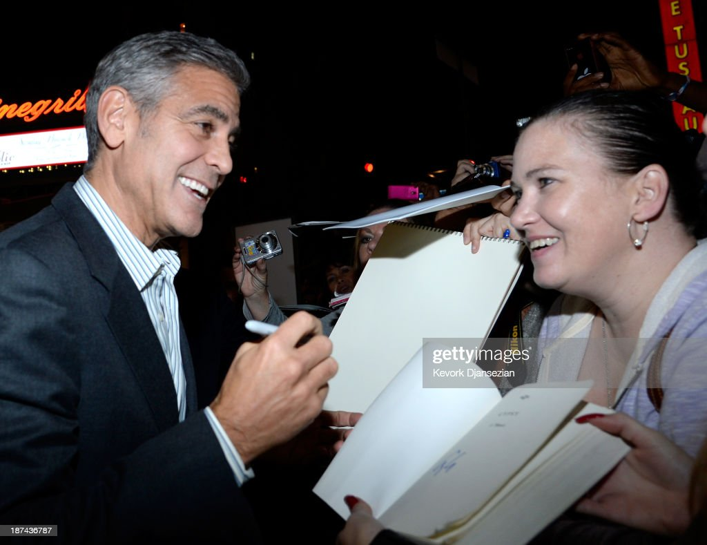 Producer <a gi-track='captionPersonalityLinkClicked' href=/galleries/search?phrase=George+Clooney&family=editorial&specificpeople=202529 ng-click='$event.stopPropagation()'>George Clooney</a> (L) attends the premiere of The Weinstein Company's 'August: Osage County' during AFI FEST 2013 presented by Audi at TCL Chinese Theatre on November 8, 2013 in Hollywood, California.
