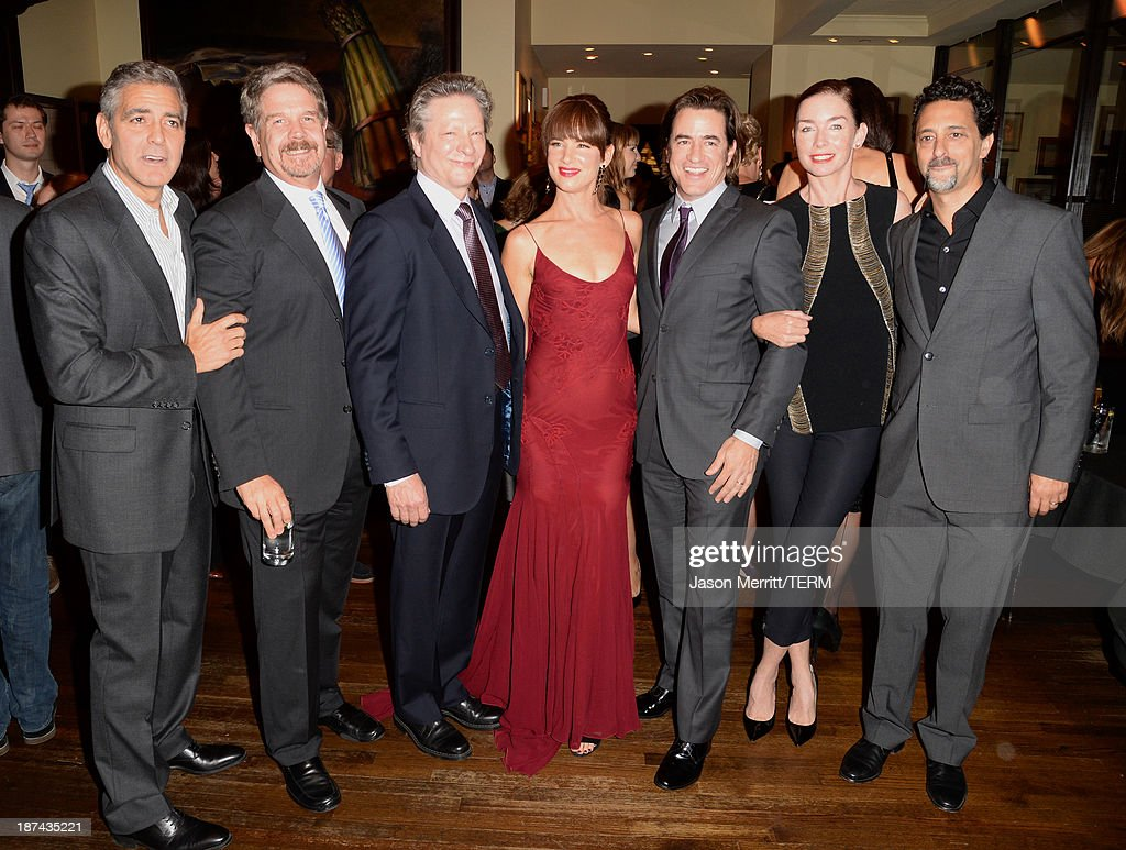 Producer George Clooney, director John Wells, actor Chris Cooper, actors Juliette Lewis, Dermot Mulroney,Julianne Nicholson and producer Grant Heslov attend The Weinstein Company Presents 'August: Osage County' Gala Screening Cocktail Reception during AFI FEST 2013 presented by Audi at TCL Chinese Theatre on November 8, 2013 in Hollywood, California.
