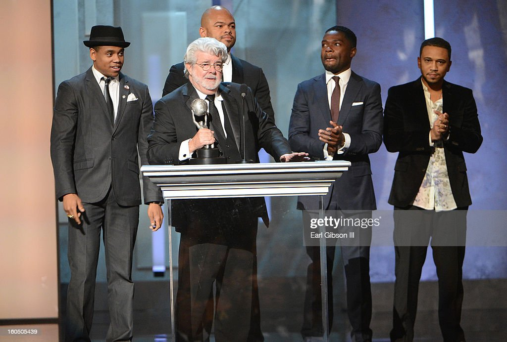 Producer <a gi-track='captionPersonalityLinkClicked' href=/galleries/search?phrase=George+Lucas&family=editorial&specificpeople=202500 ng-click='$event.stopPropagation()'>George Lucas</a> accepts Vanguard Award onstage during the 44th NAACP Image Awards at The Shrine Auditorium on February 1, 2013 in Los Angeles, California.