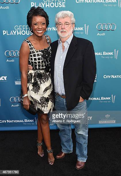 Producer George Lucas and Chairman of the Board of Directors of Dreamworks Animation Mellody Hobson attend The Geffen Playhouse's 'Backstage at the...