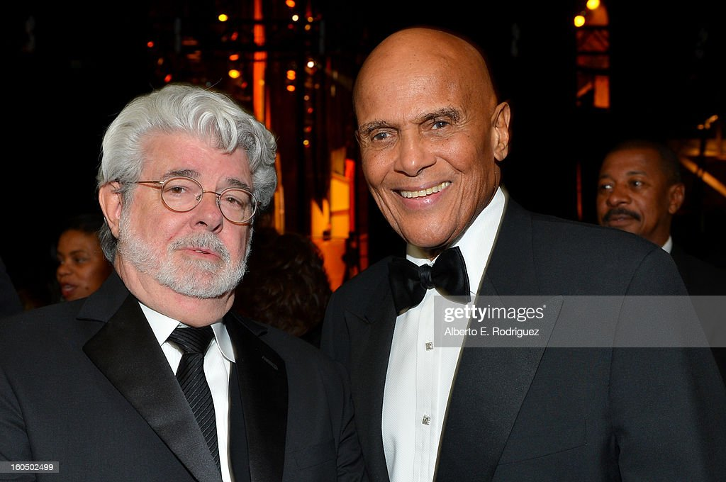 Producer George Lucas (L) and honoree Harry Belafonte attend the 44th NAACP Image Awards at The Shrine Auditorium on February 1, 2013 in Los Angeles, California.
