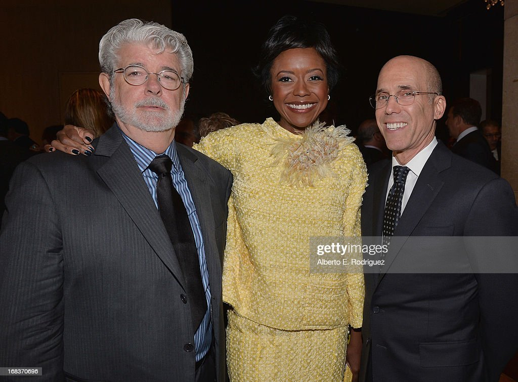 Producer <a gi-track='captionPersonalityLinkClicked' href=/galleries/search?phrase=George+Lucas&family=editorial&specificpeople=202500 ng-click='$event.stopPropagation()'>George Lucas</a>, <a gi-track='captionPersonalityLinkClicked' href=/galleries/search?phrase=Mellody+Hobson&family=editorial&specificpeople=2572145 ng-click='$event.stopPropagation()'>Mellody Hobson</a> and Dreamworks Animation CEO <a gi-track='captionPersonalityLinkClicked' href=/galleries/search?phrase=Jeffrey+Katzenberg&family=editorial&specificpeople=171496 ng-click='$event.stopPropagation()'>Jeffrey Katzenberg</a> attend the Anti-Defamation League's Centennial Entertainment Industry Award Dinner at The Beverly Hilton Hotel on May 8, 2013 in Beverly Hills, California.