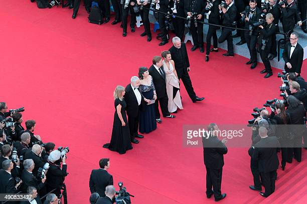 Producer Georgina Lowe director Mike Leigh actors Marion Bailey Timothy Spall Dorothy Atkinson and director of Photography Dick Pope attend the 'Mr...