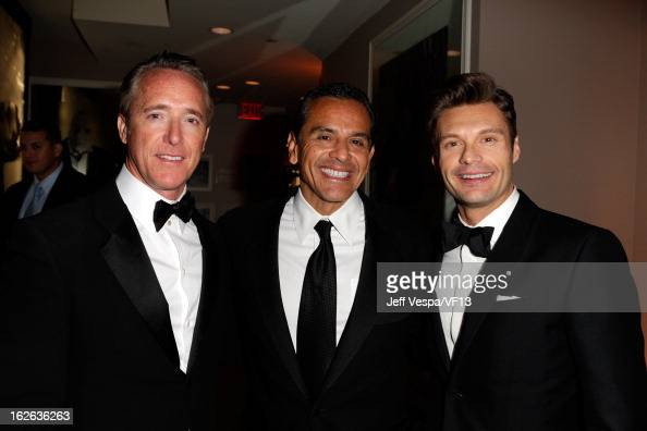 Producer Geyer Kosinski Los Angeles Mayor Antonio Villaraigosa and Ryan Seacrest attend the 2013 Vanity Fair Oscar Party hosted by Graydon Carter at...