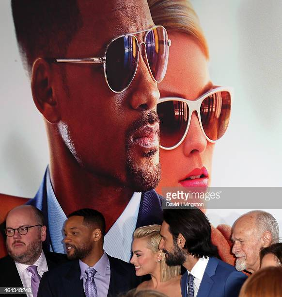 Producer Glenn Ficarra and actors Will Smith Margot Robbie Rodrigo Santoro and Gerald McRaney attend the premiere of Warner Bros Pictures' 'Focus' at...