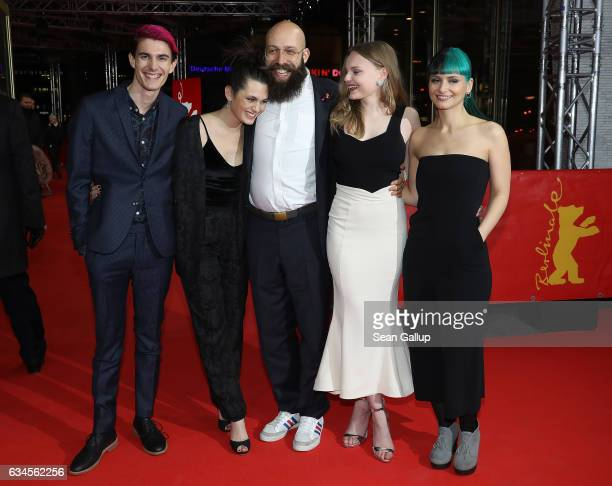 Producer Golo Schultz actress Ella Rumpf director Jakob Lass actress Maria Dragus and producer Ines Schiller attend the 'Tiger Girl' premiere during...