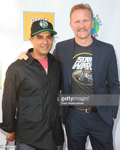 Producer Gotham Chopra and filmmaker Morgan Spurlock attend 'Geeks For Peace' on July 10 2015 in San Diego California