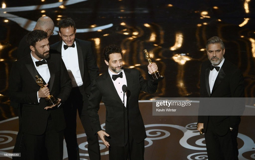 "Producer Grant Heslov accepts the Best Picture award for ""Argo"" onstage during the Oscars held at the Dolby Theatre on February 24 2013 in Hollywood..."