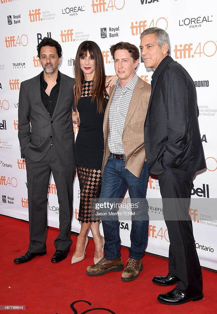 Producer Grant Heslov actress Sandra Bullock director David Gordon Green and producer George Clooney attend the 'Our Brand is Crisis' premiere during...