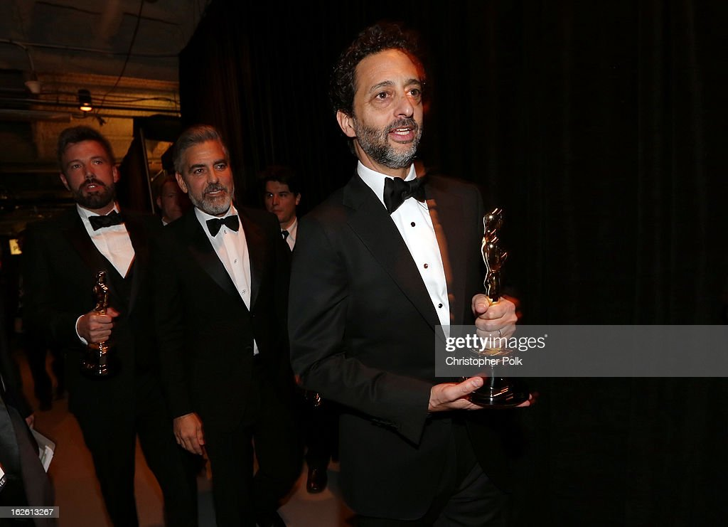 Producer Grant Heslov Producer George Clooney and actor/director Ben Affleck winners of the award for Best Motion Picture of the Year for Argo...