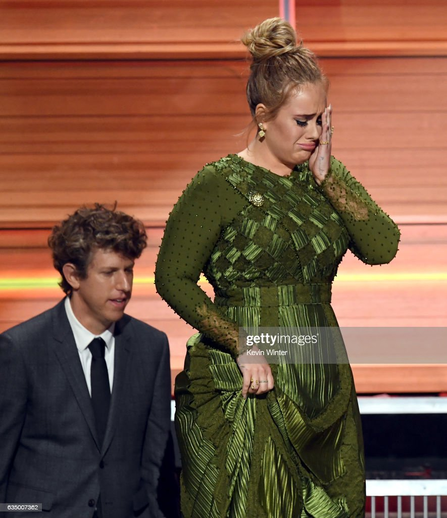 Producer Greg Kurstin (L) and recording artist Adele accept the Album Of The Year award for '25' onstage during The 59th GRAMMY Awards at STAPLES Center on February 12, 2017 in Los Angeles, California.