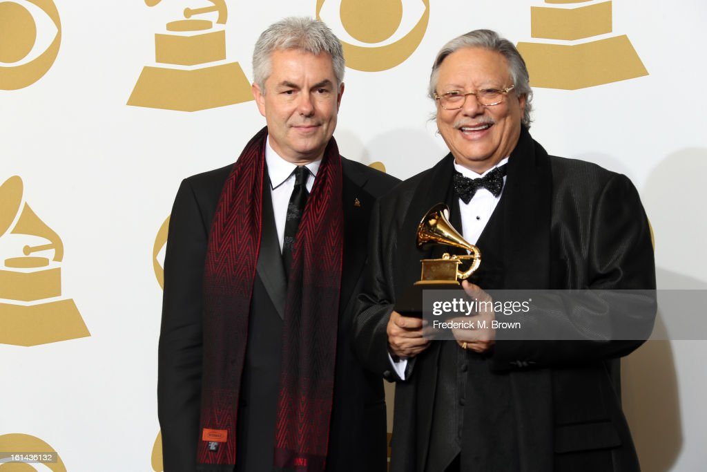 Producer Gregg Field and musician <a gi-track='captionPersonalityLinkClicked' href=/galleries/search?phrase=Arturo+Sandoval+-+Musician&family=editorial&specificpeople=228099 ng-click='$event.stopPropagation()'>Arturo Sandoval</a>, winners of Best Large Jazz Ensemble Album for 'Every Day I Think of You' pose in the press room at the 55th Annual GRAMMY Awards at Staples Center on February 10, 2013 in Los Angeles, California.