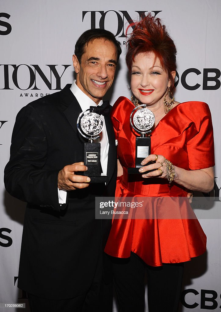 Producer Hal Luftig and composer <a gi-track='captionPersonalityLinkClicked' href=/galleries/search?phrase=Cyndi+Lauper&family=editorial&specificpeople=171290 ng-click='$event.stopPropagation()'>Cyndi Lauper</a> from the best new musical 'Kinky Boots' attend The 67th Annual Tony Awards backstage at Radio City Music Hall on June 9, 2013 in New York City.
