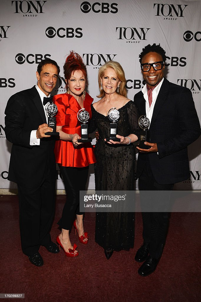 Producer Hal Luftig, composer <a gi-track='captionPersonalityLinkClicked' href=/galleries/search?phrase=Cyndi+Lauper&family=editorial&specificpeople=171290 ng-click='$event.stopPropagation()'>Cyndi Lauper</a>, producer <a gi-track='captionPersonalityLinkClicked' href=/galleries/search?phrase=Daryl+Roth&family=editorial&specificpeople=240435 ng-click='$event.stopPropagation()'>Daryl Roth</a> and actor <a gi-track='captionPersonalityLinkClicked' href=/galleries/search?phrase=Billy+Porter&family=editorial&specificpeople=787592 ng-click='$event.stopPropagation()'>Billy Porter</a> from the best new musical 'Kinky Boots' attend The 67th Annual Tony Awards backstage at Radio City Music Hall on June 9, 2013 in New York City.