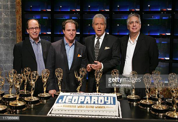 Producer Harry Friedman Sony Pictures Television's Robert Oswaks Alex Trebek and Sony Pictures Home Entertainment's Ben Feingold