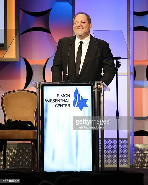 Producer Harvey Weinstein accepts the Humanitarian Award onstage at the Simon Wiesenthal Center 2015 National Tribute Dinner at The Beverly Hilton...