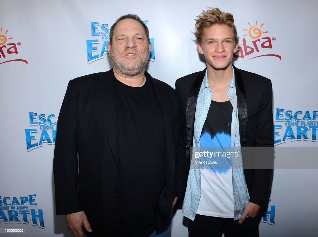 Producer <a gi-track='captionPersonalityLinkClicked' href=/galleries/search?phrase=Harvey+Weinstein&family=editorial&specificpeople=201749 ng-click='$event.stopPropagation()'>Harvey Weinstein</a> (L) and actor <a gi-track='captionPersonalityLinkClicked' href=/galleries/search?phrase=Cody+Simpson&family=editorial&specificpeople=7068455 ng-click='$event.stopPropagation()'>Cody Simpson</a> attend the premiere of the Weinstein Company's 'Escape From Planet Earth' held at the Mann Chinese 6 on February 2, 2013 in Los Angeles, California.