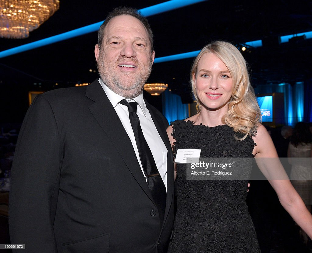 Producer <a gi-track='captionPersonalityLinkClicked' href=/galleries/search?phrase=Harvey+Weinstein&family=editorial&specificpeople=201749 ng-click='$event.stopPropagation()'>Harvey Weinstein</a> and actress <a gi-track='captionPersonalityLinkClicked' href=/galleries/search?phrase=Naomi+Watts&family=editorial&specificpeople=171723 ng-click='$event.stopPropagation()'>Naomi Watts</a> attend the 85th Academy Awards Nominations Luncheon at The Beverly Hilton Hotel on February 4, 2013 in Beverly Hills, California.
