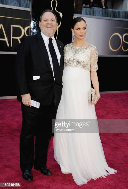 Producer Harvey Weinstein and designer Georgina Chapman arrive at the Oscars at Hollywood Highland Center on February 24 2013 in Hollywood California