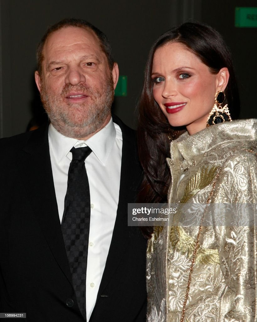 Producer <a gi-track='captionPersonalityLinkClicked' href=/galleries/search?phrase=Harvey+Weinstein&family=editorial&specificpeople=201749 ng-click='$event.stopPropagation()'>Harvey Weinstein</a> and designer Georgina Chapman attend a screening of The Weinstein Company's 'Killing Them Softly' hosted by The Cinema Society with Men's Health and DeLeon Tequila at SVA Theatre on November 26, 2012 in New York City.