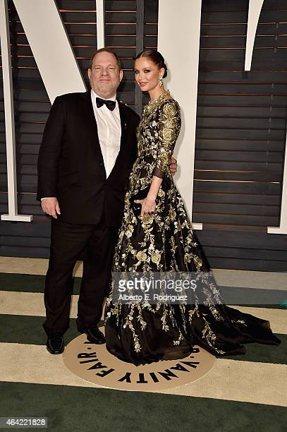 Producer Harvey Weinstein and designer Georgina Chapman attend the 2015 Vanity Fair Oscar Party hosted by Graydon Carter at Wallis Annenberg Center...