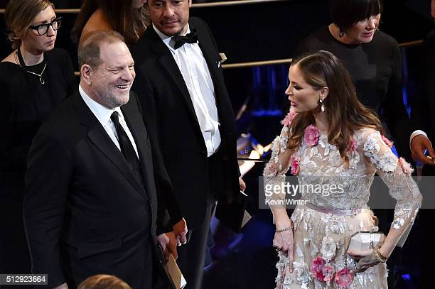 Producer Harvey Weinstein and designer Georgina Chapman in the audience during the 88th Annual Academy Awards at the Dolby Theatre on February 28...