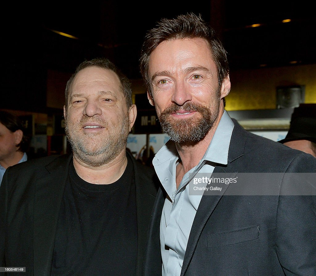 Producer Harvey Weinstein (L) and Hugh Jackman attend the 'Escape From Planet Earth' premiere presented by The Weinstein Company in partnership with Sabra at Mann Chinese 6 on February 2, 2013 in Los Angeles, California.