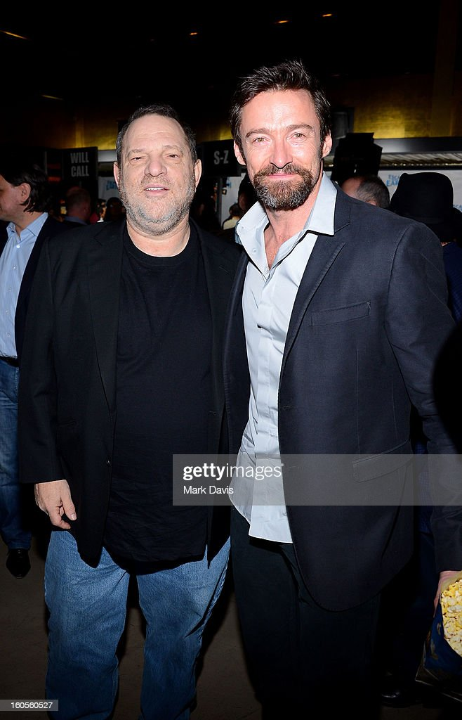 Producer <a gi-track='captionPersonalityLinkClicked' href=/galleries/search?phrase=Harvey+Weinstein&family=editorial&specificpeople=201749 ng-click='$event.stopPropagation()'>Harvey Weinstein</a> (L) and <a gi-track='captionPersonalityLinkClicked' href=/galleries/search?phrase=Hugh+Jackman&family=editorial&specificpeople=202499 ng-click='$event.stopPropagation()'>Hugh Jackman</a> attend the premiere of the Weinstein Company's 'Escape From Planet Earth' held at the Mann Chinese 6 on February 2, 2013 in Los Angeles, California.