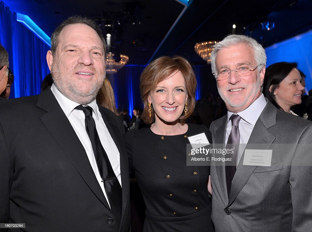 Producer Harvey Weinstein, co-chair of Disney Media Networks and President of Disney-ABC Television Group Anne Sweeney and Co-Chairman of Lionsgate Motion Picture Group & AMPAS Govenor Rob Friedman attend the 85th Academy Awards Nominations Luncheon at The Beverly Hilton Hotel on February 4, 2013 in Beverly Hills, California.