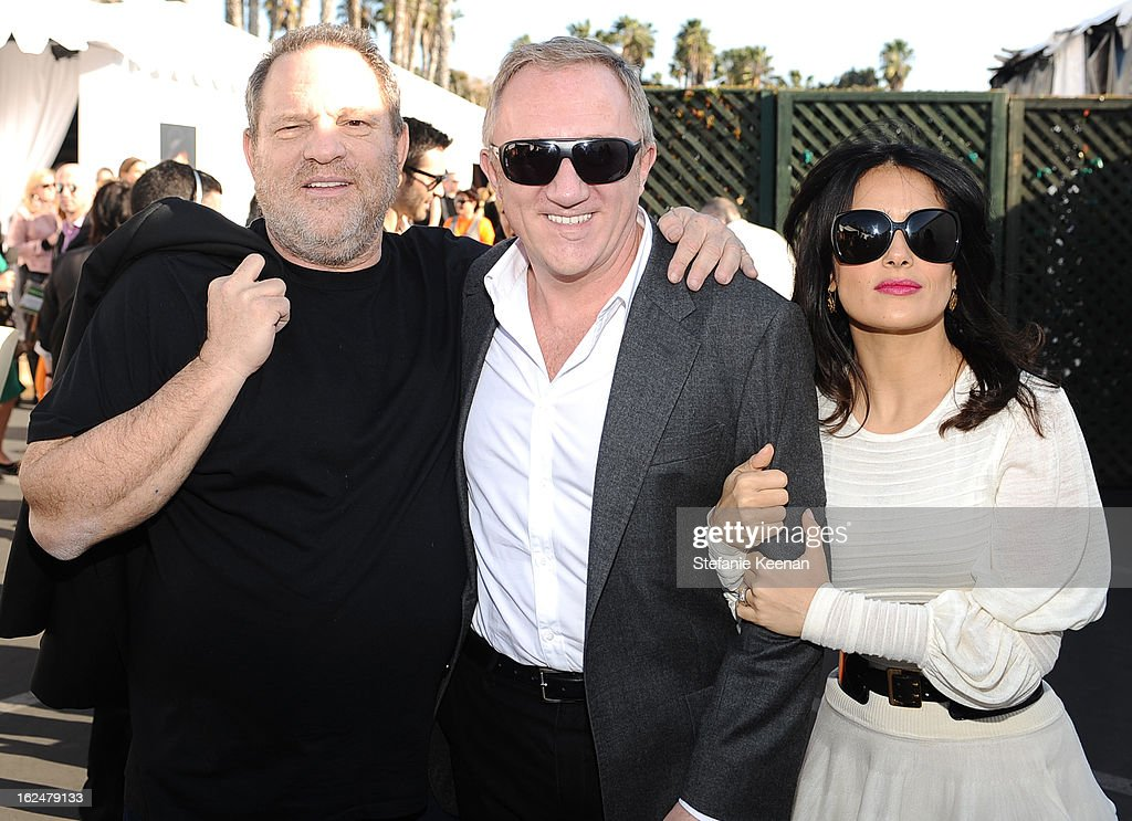Producer Harvey Weinstein, Francois Pinault and actress Salma Hayek pose in the Piaget Lounge during The 2013 Film Independent Spirit Awards on February 23, 2013 in Santa Monica, California.