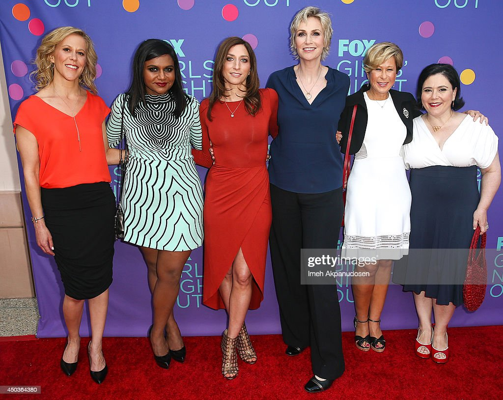 Producer Heather Kadin with actresses Mindy Kaling, Chelsea Peretti, Jane Lynch, Yeardley Smith, and Alex Borstein attend Fox's 'Girls Night Out' at Leonard H. Goldenson Theatre on June 9, 2014 in North Hollywood, California.