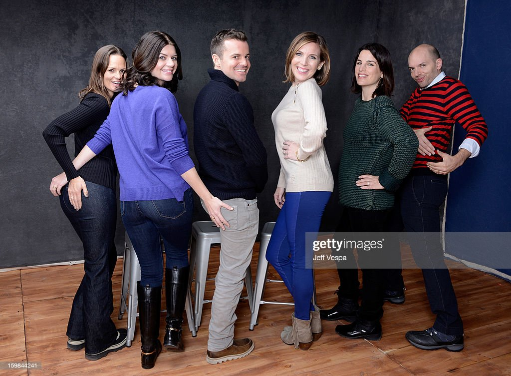 Producer Heather Rae actress Casey Wilson filmmaker Chris Nelson actress June Diane Raphael producer Elysa Koplovitz and actor Paul Scheer pose for a...