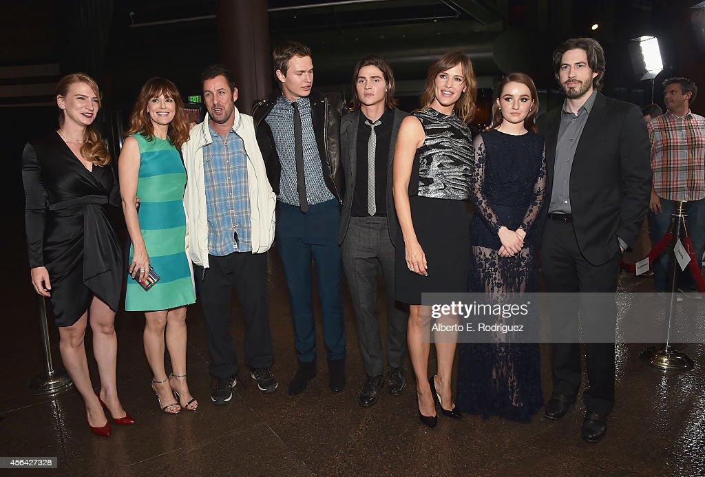 Producer Helen Estabrook actors Rosemarie DeWitt Adam Sandler Ansel Elgort Will Peltz Jennifer Garner Kaitlyn Dever and director/producer/cowriter...
