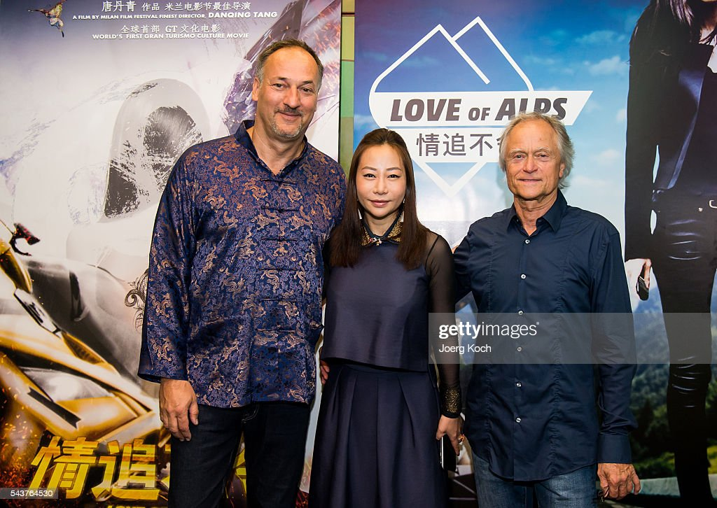 Producer Helmut Hartl (L-R), director Danqing Tang and producer Tom Wommer attend a press conference about the movie 'Love of Alps (AT)' during the Munich Film Festival 2016 at Ampere-Muffatwerk on June 30, 2016 in Munich, Germany.