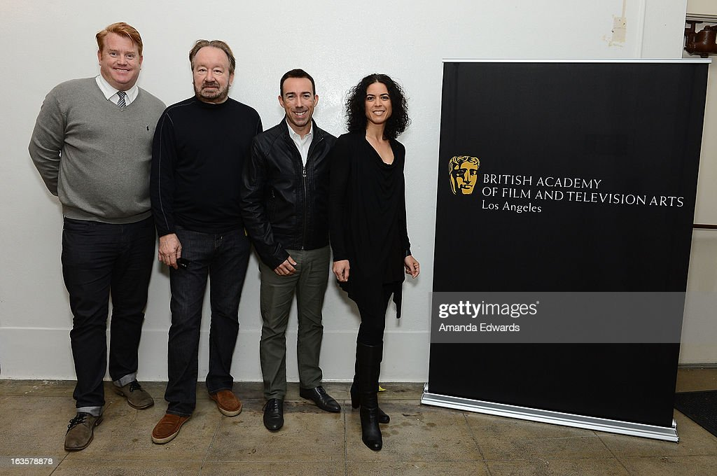 Producer Herb Ankrom, reality showrunner Vince DiPersio, executive producer Rob Bagshaw and production designer Shana Mabari attend the BAFTA LA Reality TV Master Class led by Rob Bagshaw at George Washington Preparatory High School on March 12, 2013 in Los Angeles, California.