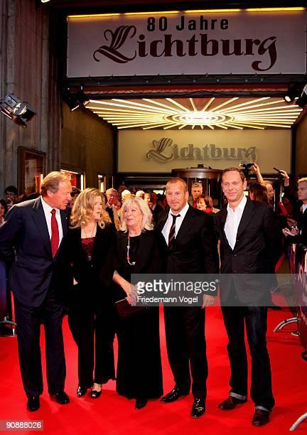 Producer Herbert G Kloiber actress Barbara Sukowa director Margarethe von Trotta actor Heino Ferch and producer Markus Zimmer pose on the red carpet...