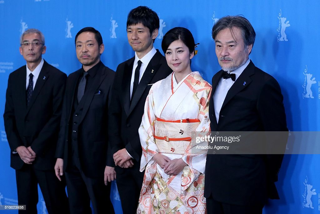 Producer Hiroshi Fukazawa, actors Teruyuki Kagawa, Nishijima Hidetoshi, director Kiyoshi Kurosawa and actress Yuko Takeuchi and actor attend the 'Creepy' photo call during the 66th Berlinale International Film Festival Berlin at Grand Hyatt Hotel on February 13, 2016 in Berlin, Germany.