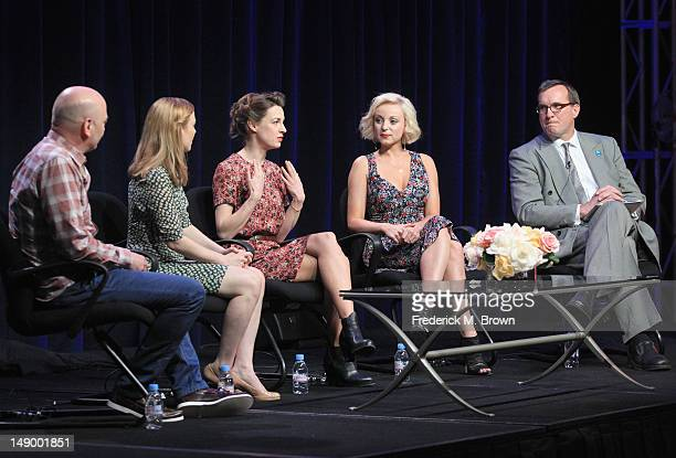 Producer Hugh Warren actresses Laura Main Jessica Raine and Helen George and Senior Vice President Chief TV Programming Executive PBS John Wilson...