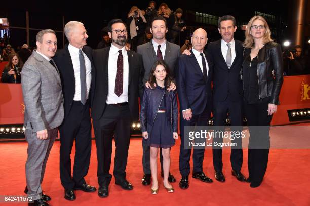 Producer Hutch Parker director James Mangold actors Hugh JackmanDafne Keen Patrick Stewart producer Simon Kinberg and guest attend the 'Logan'...