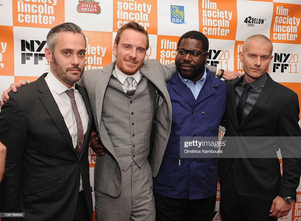 Producer Iain Canning actor Michael Fassbender director Steve McQueen and actor James Badge Dale attend the 49th annual New York Film Festival...