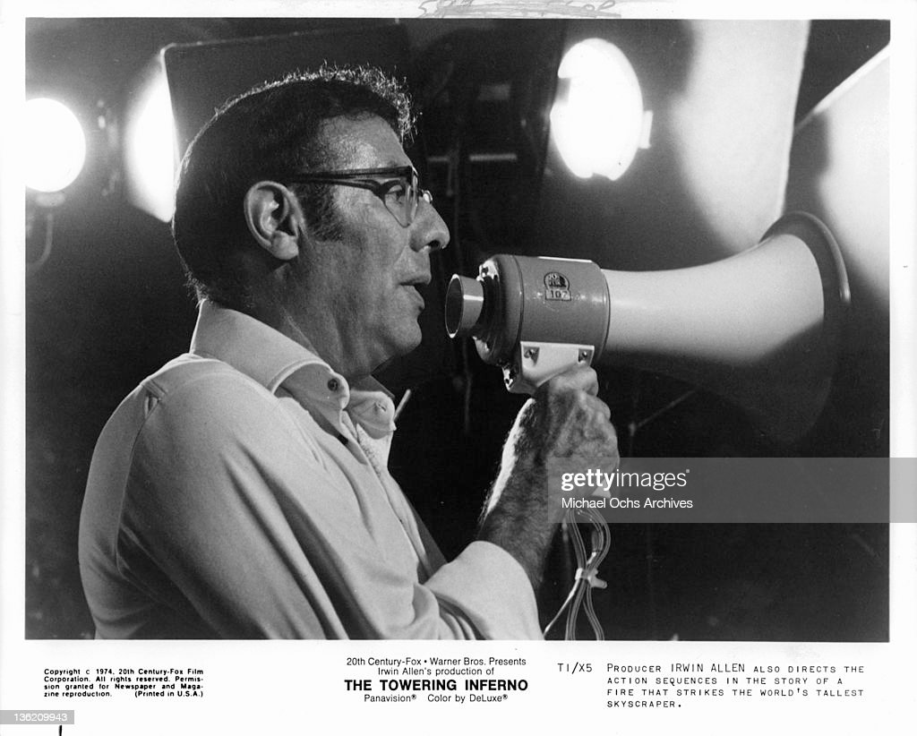 Producer Irwin Allen directing action for the film 'The Towering Inferno', 1974.