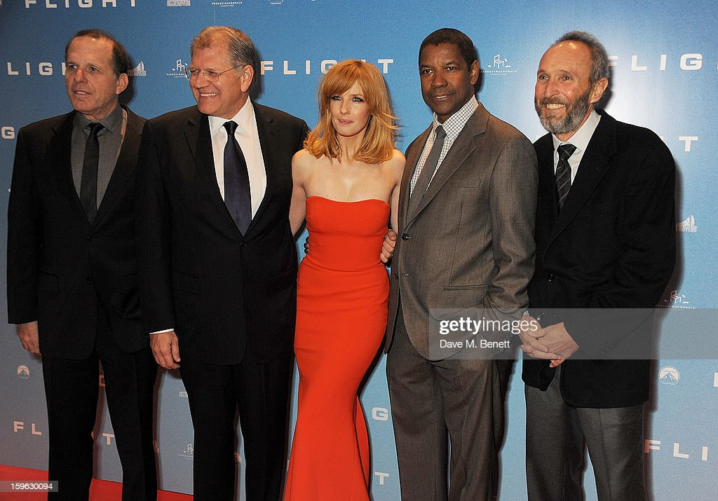 Producer Jack Rapke, director Robert Zemeckis, Kelly Reilly, Denzel Washington and producer Steve Starkey attend the UK Premiere of 'Flight' at the the Empire Leicester Square on January 17, 2013 in London, England.