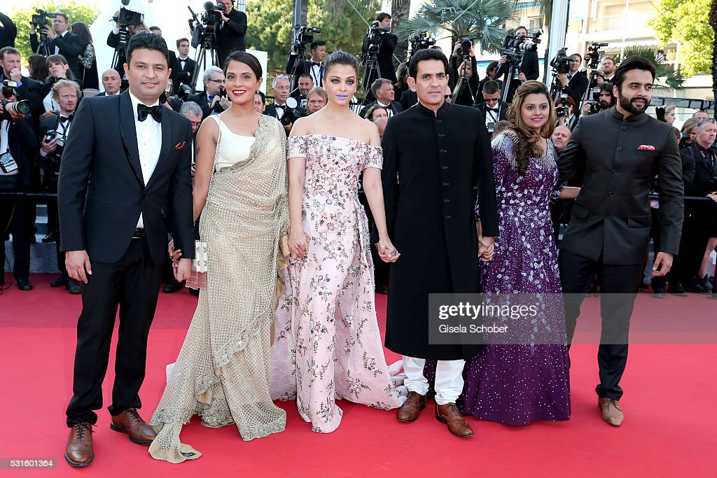 Producer Jackky Bhagnani, Deepshika Deshmukh , actors Darshan Kumaar, Aishwarya Rai, Richa Chadha and T-Series head Bhushan Kumar attend the 'From The Land Of The Moon (Mal De Pierres)' premiere during the 69th annual Cannes Film Festival at the Palais des Festivals on May 15, 2016 in Cannes, France.